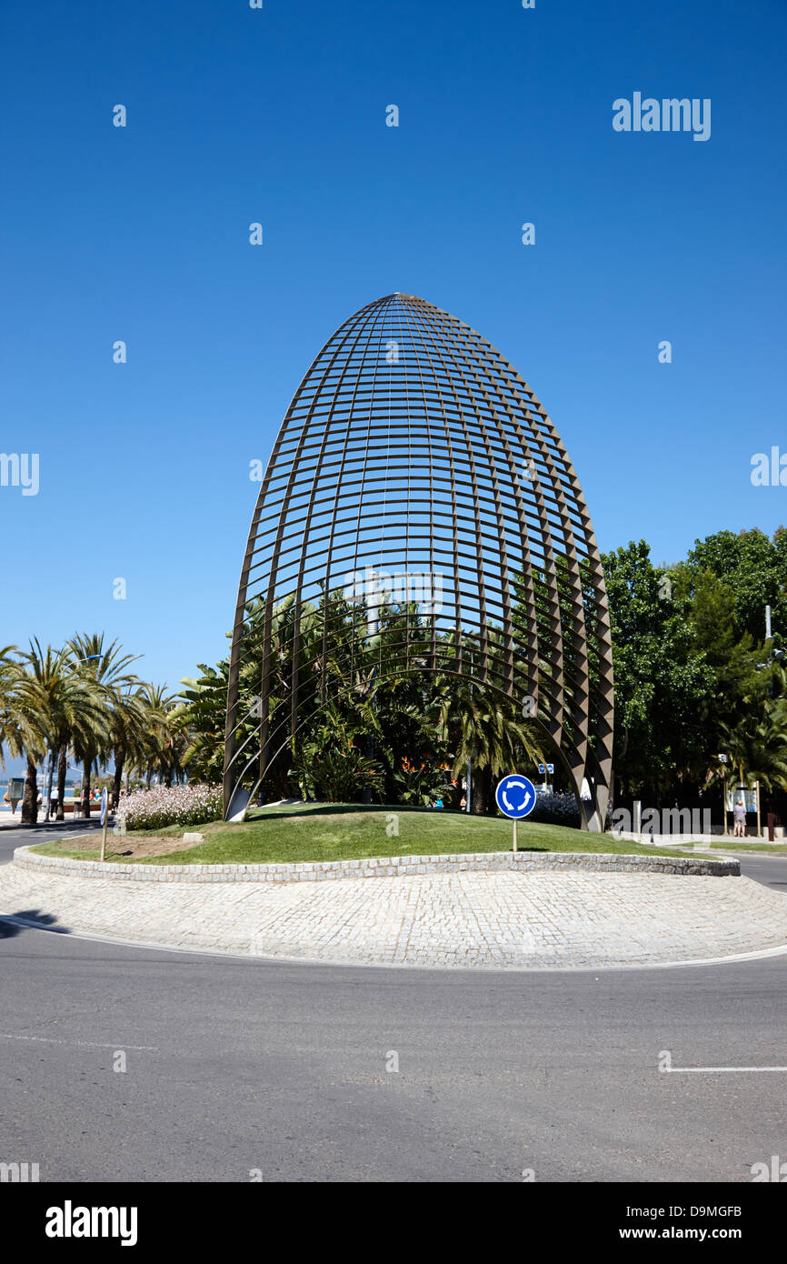 tot vela sail sculpture at the entrance to the port harbour of Cambrils Catalonia Spain - Stock Image
