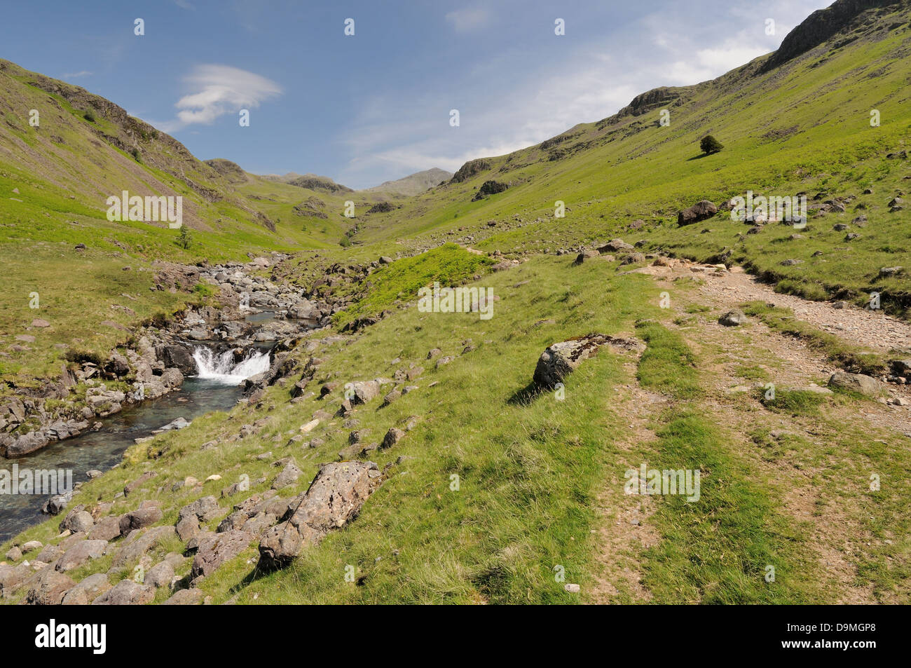 Footpath by the River Esk, Upper Eskdale, English Lake District - Stock Image