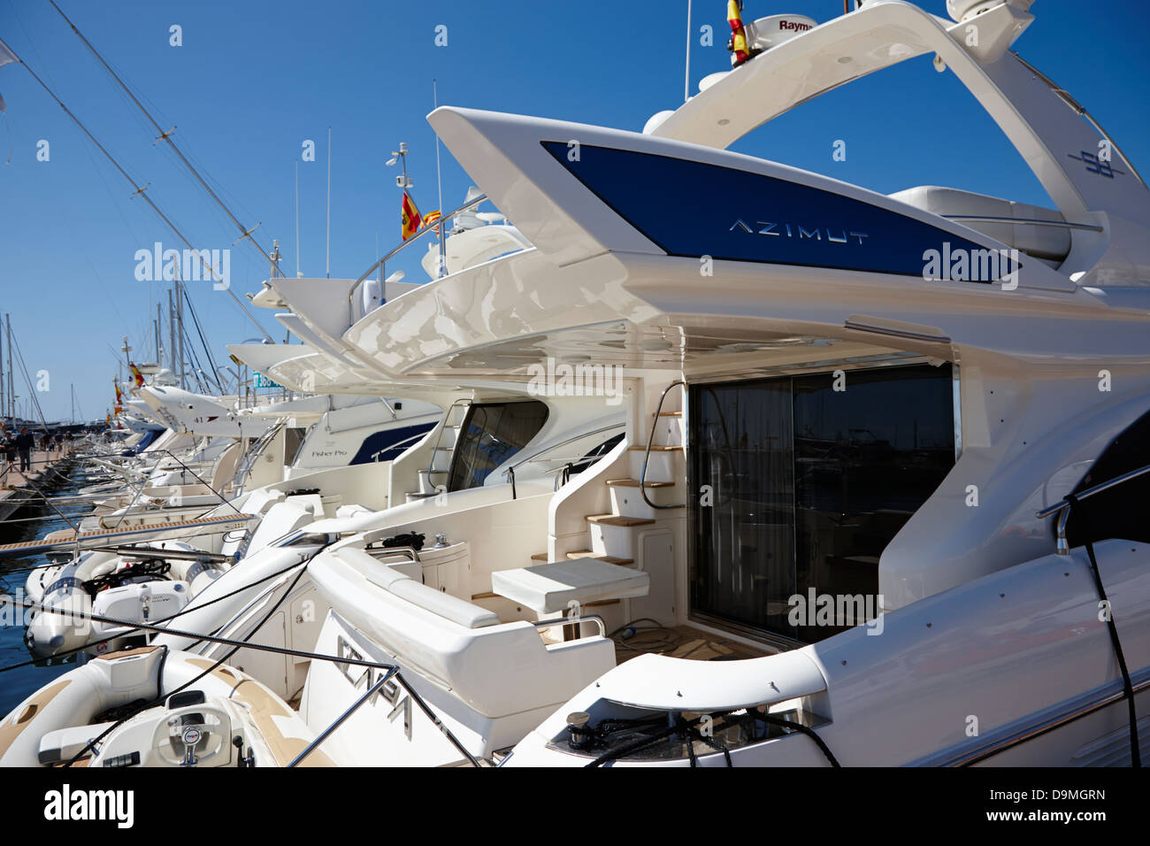 yachts and powerboats in the port marina Cambrils Catalonia Spain - Stock Image