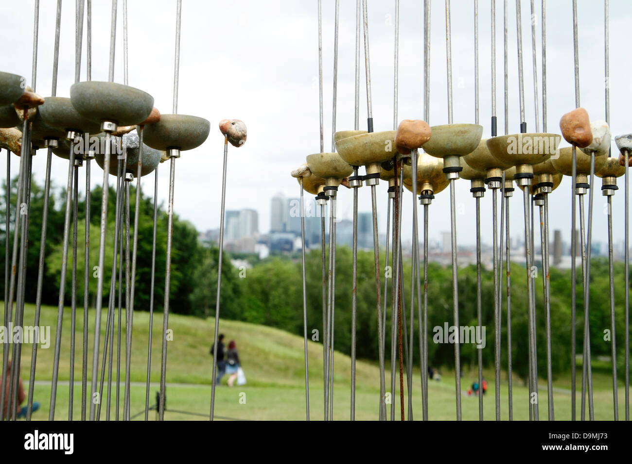 'Sonic Reed Beds' by Kathy Hinde, one of nine wind powered sound installations that make up Audible Forces - Stock Image