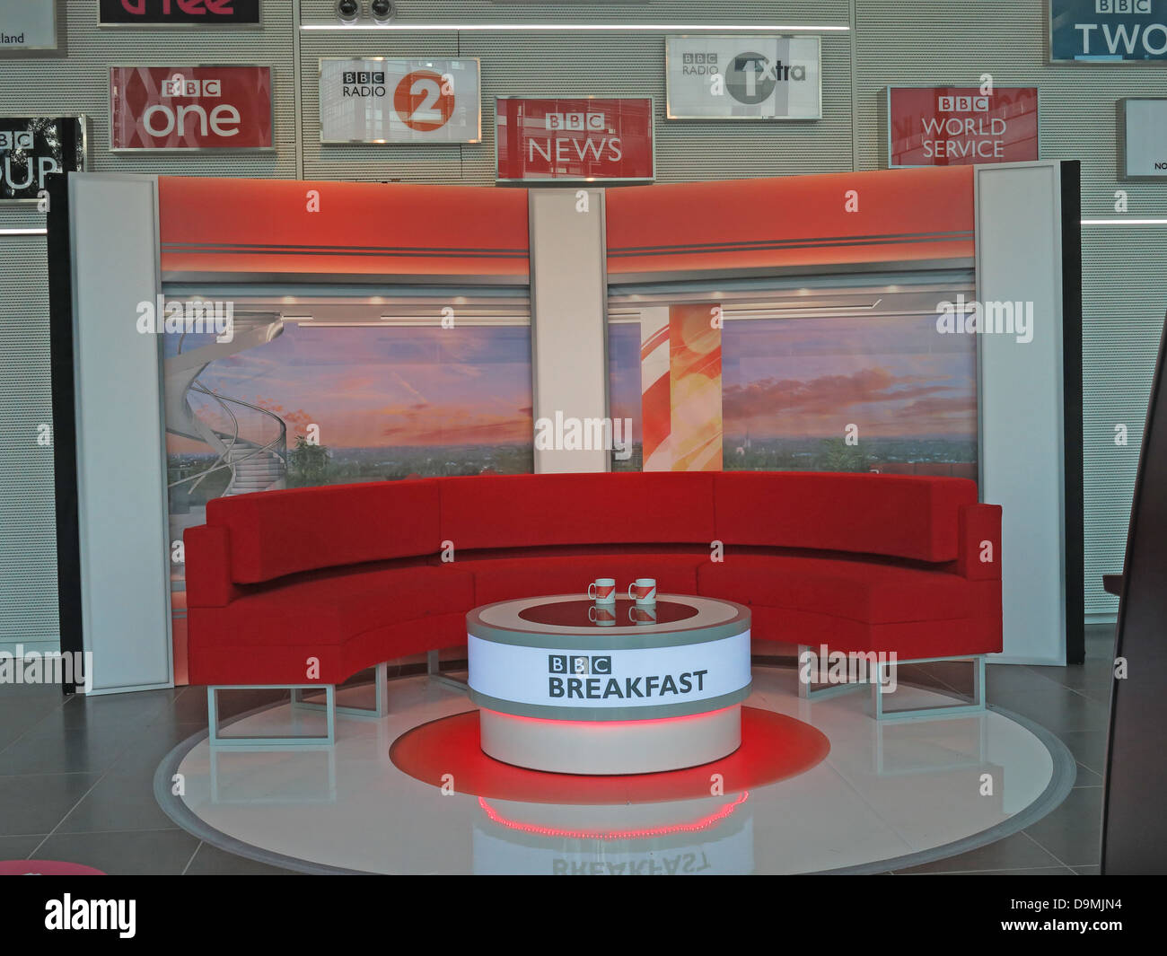 BBC Breakfast studio at  Salford Media City UK Manchester UK - Stock Image