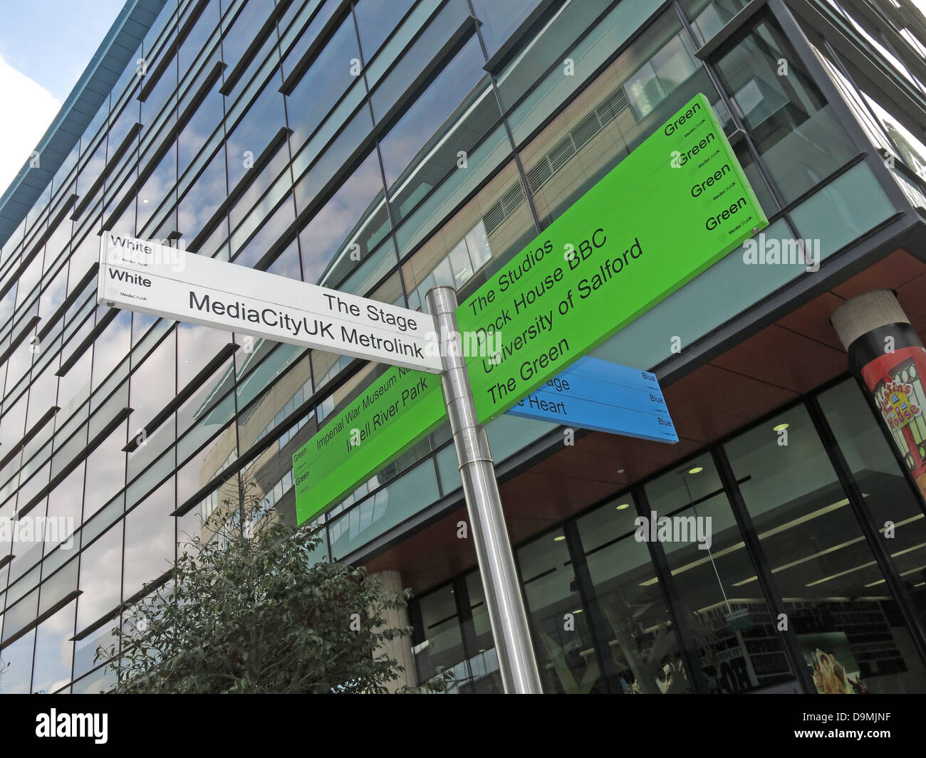 Sign posts at BBC Salford Media City UK Manchester UK to The Stage, MediaCityUK Metrolink - Stock Image