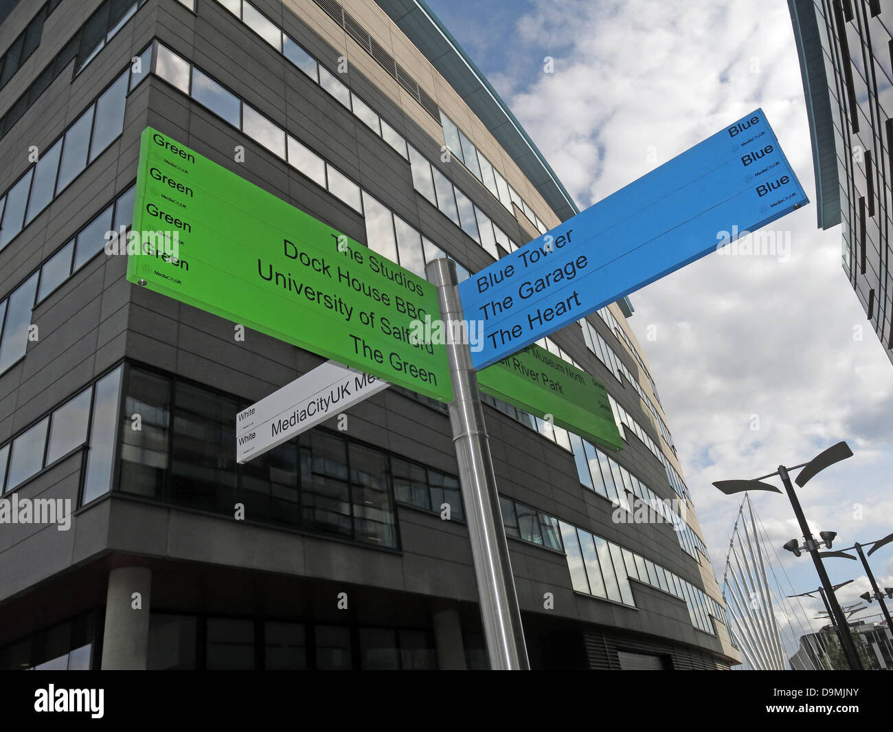 Sign posts at BBC Salford Media City UK Manchester UK - Stock Image