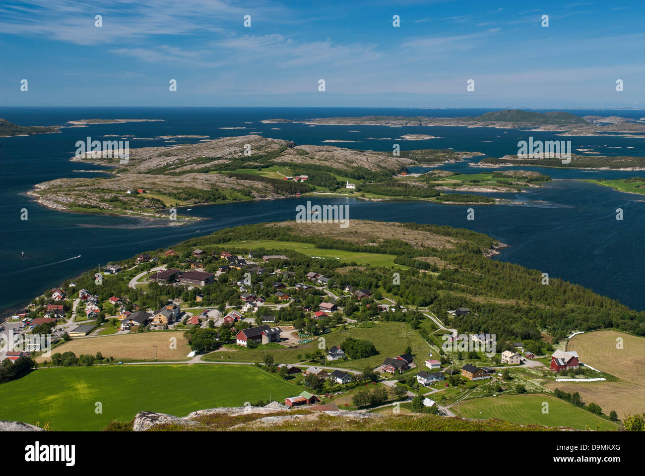 Lauvsnes on the coast of Norway Mountain fishing place fjord spare time coast Lauvsnes Norway Norway summer valley - Stock Image