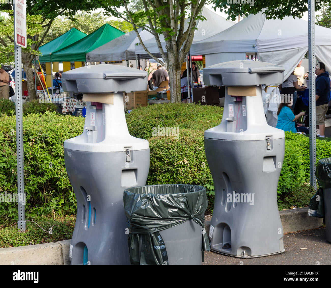 Beaverton Oregon United States.  Hand wash stations allow customers to wash up while at the market - Stock Image