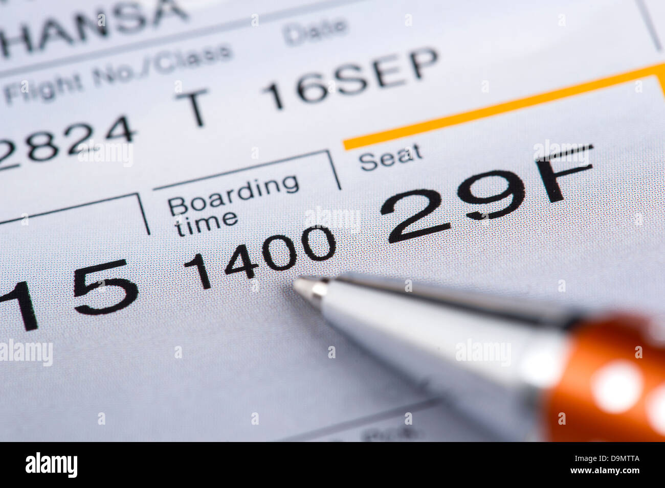 Boarding Card boron thing time - Stock Image
