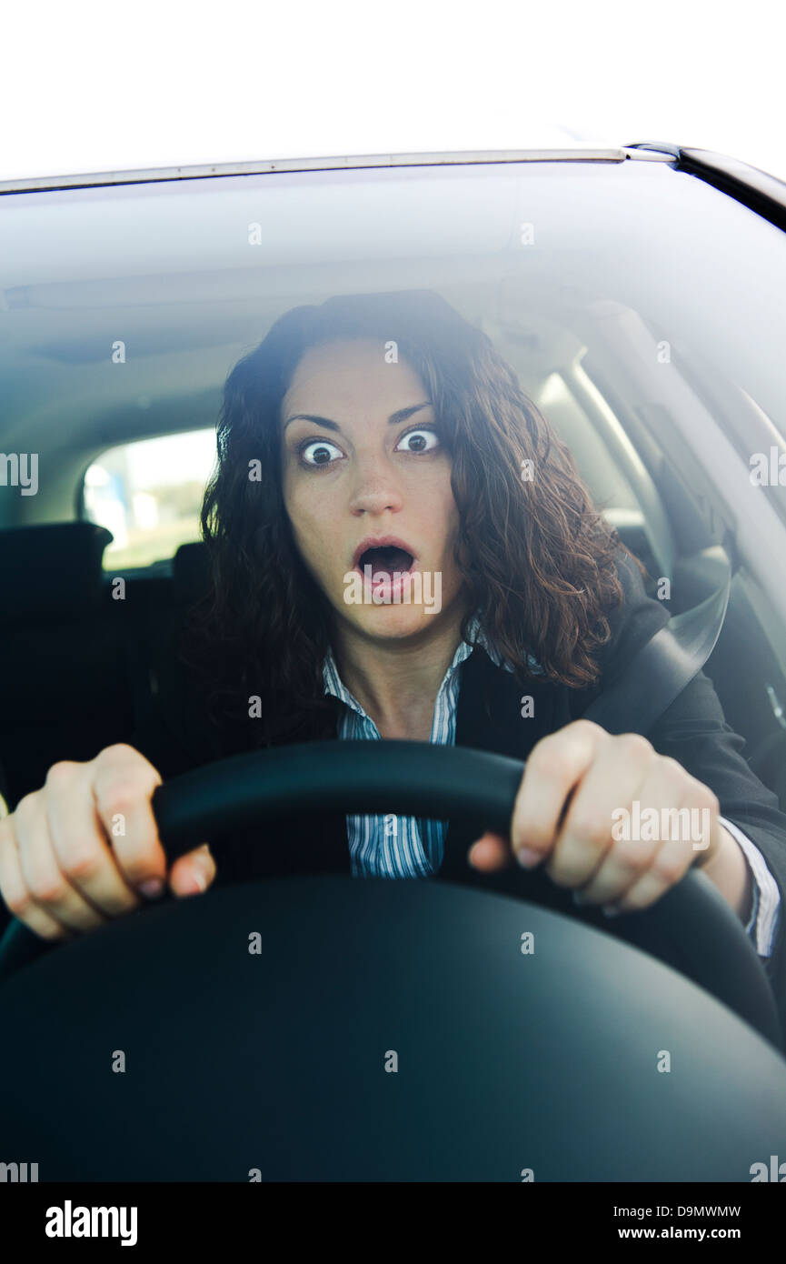 Model released, The fright second car driving - Stock Image