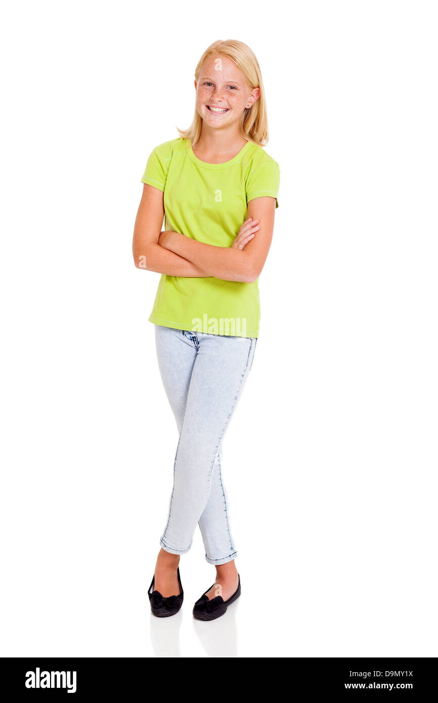 beautiful pre teen girl full length portrait isolated on white - Stock Image