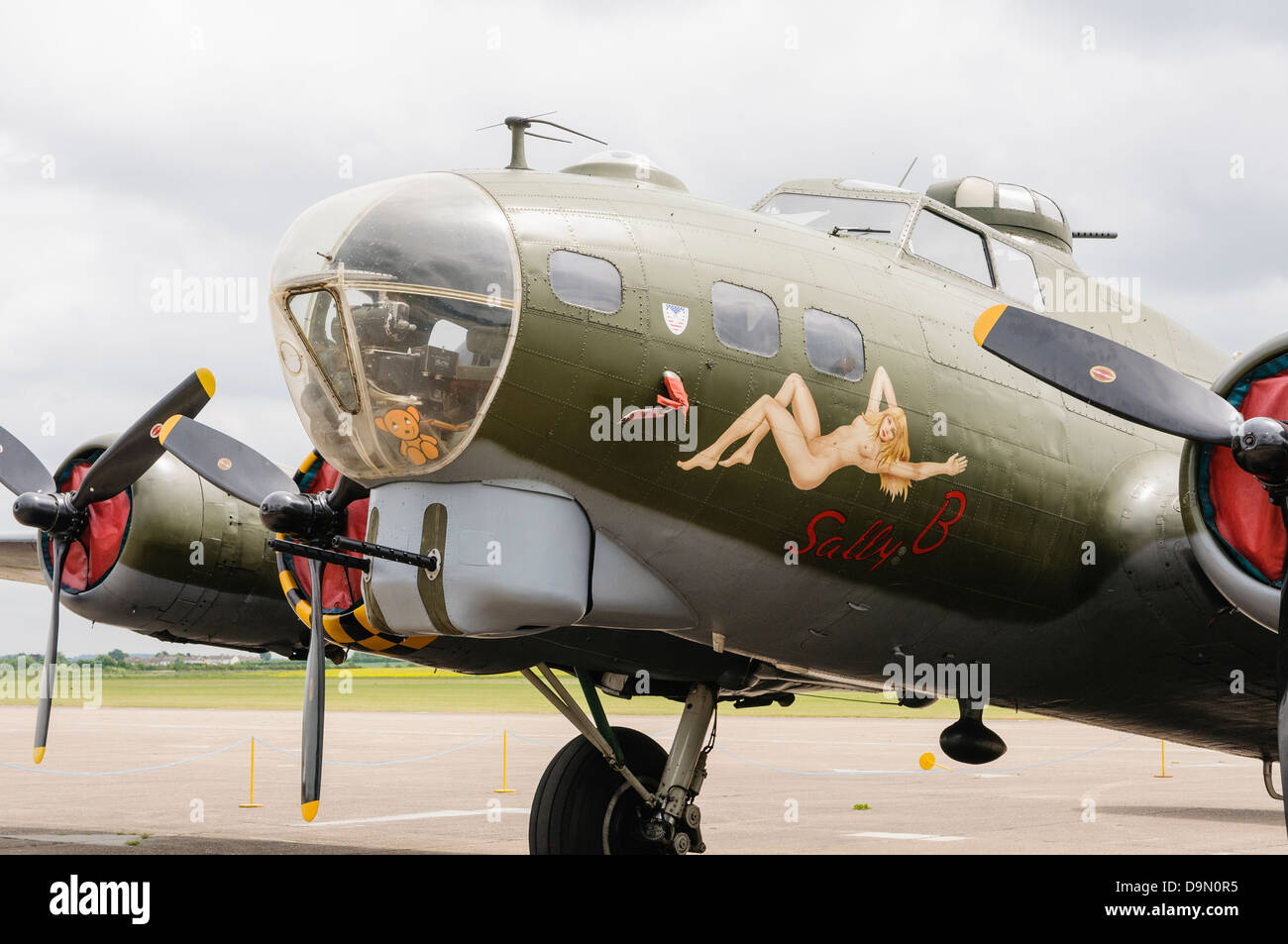 "B-17G Flying Fortress bomber ""Sally B"", one of three aircraft used in the 1990 film ""Memphis Belle"" parked at Duxford Stock Photo"