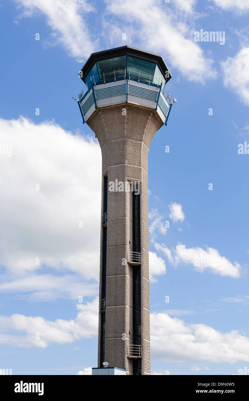 Air Traffic Control (ATC) tower at London Luton Airport - Stock Image