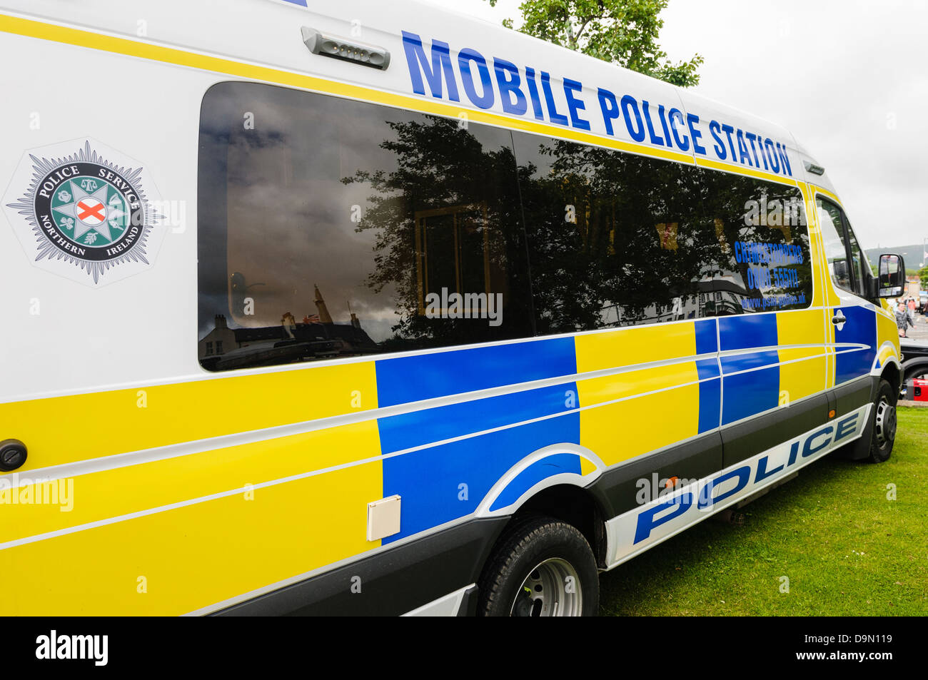 Large van converted into a mobile police station for use in emergency situations - Stock Image