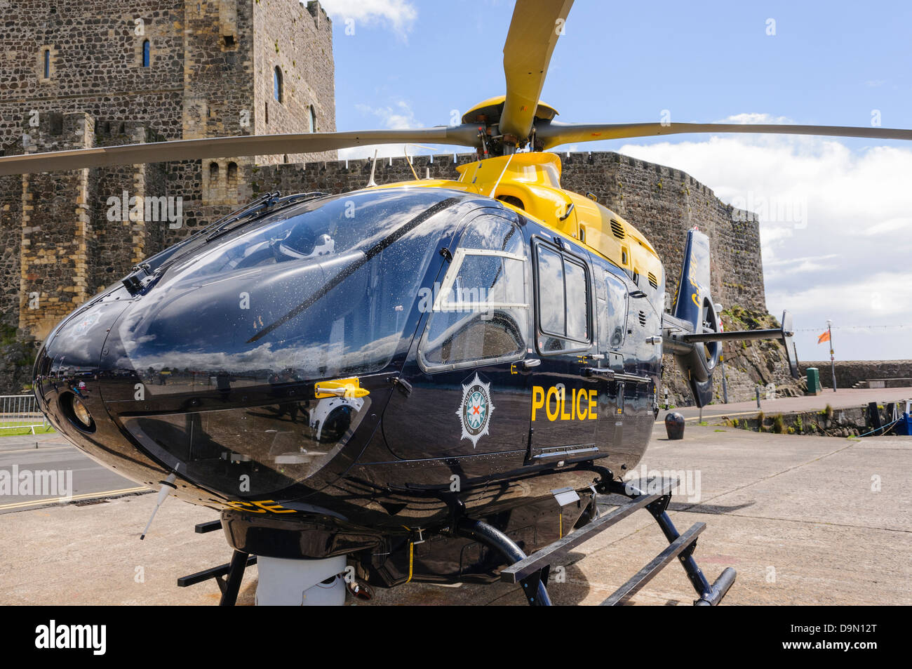 PSNI police helicopter Eurocopter EC-135 G-PSNI on the ground - Stock Image