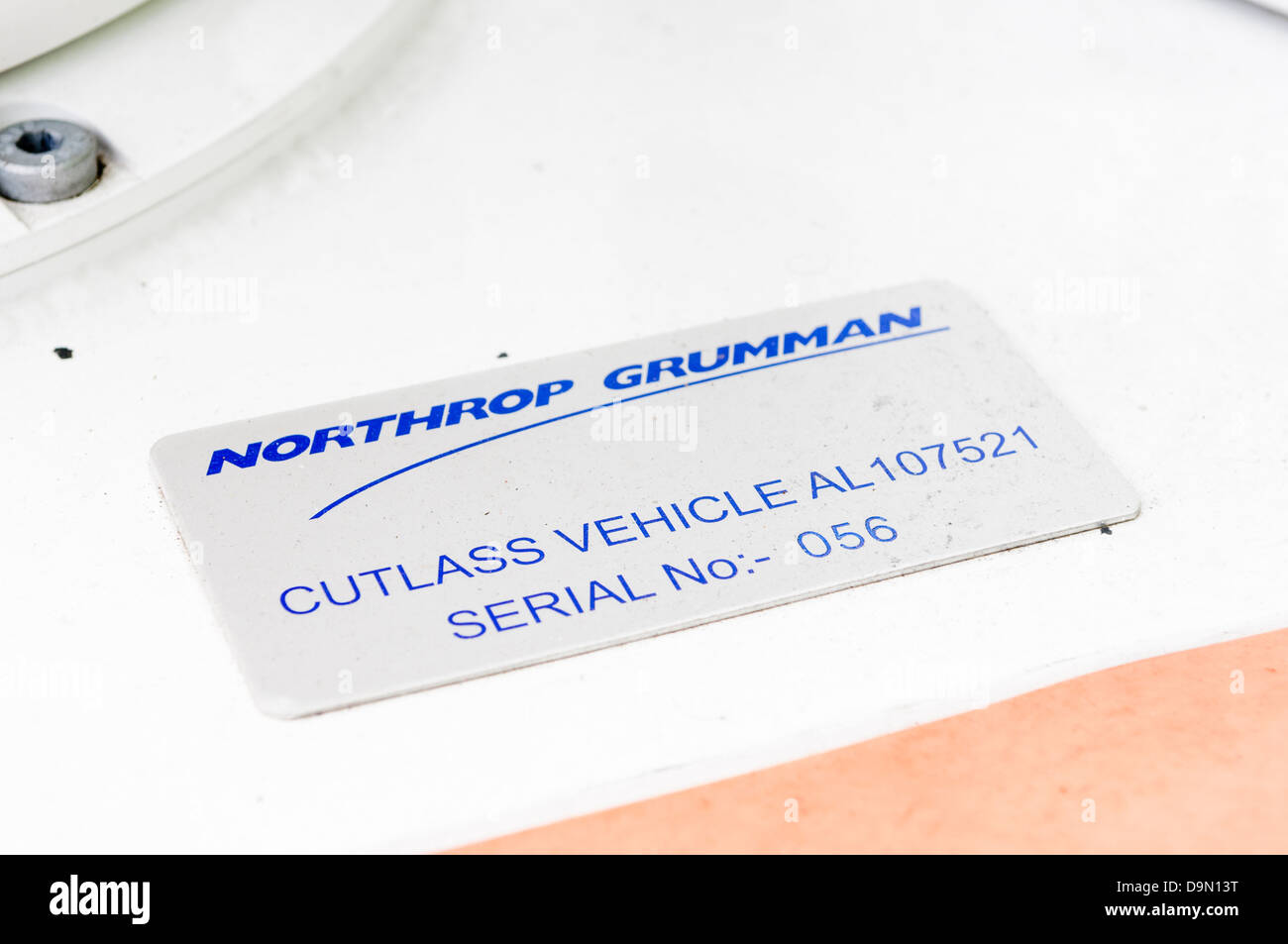 Manufacturers plate on a Northrop Grumman Remtec Cutlass unmanned vehicle, used by the bomb squad to defuse suspicious - Stock Image