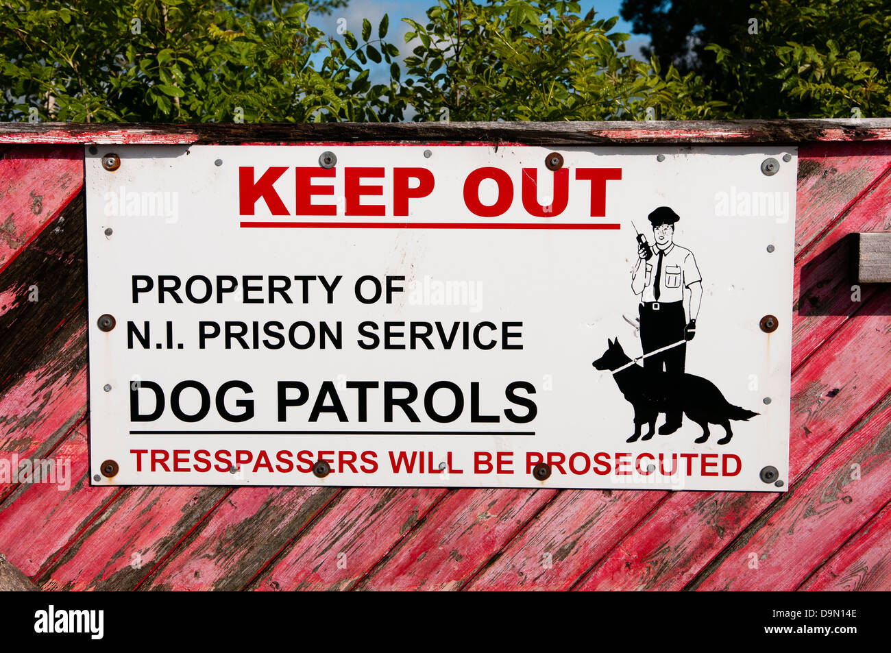 Keep out sign at prison in Northern Ireland - Stock Image