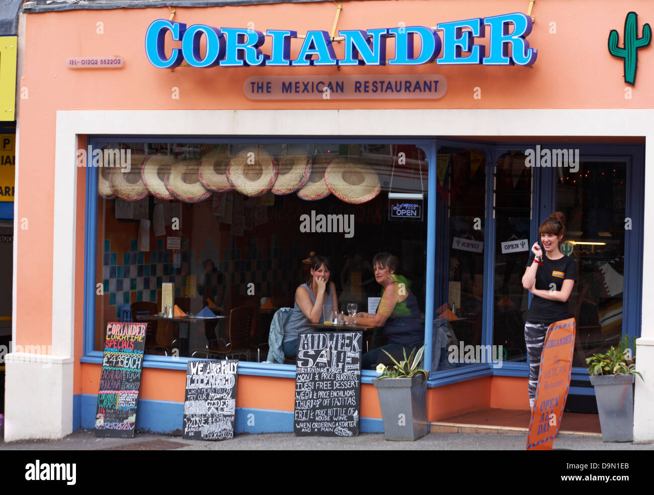 Coriander the Mexican Restaurant at Bournemouth in June - Stock Image