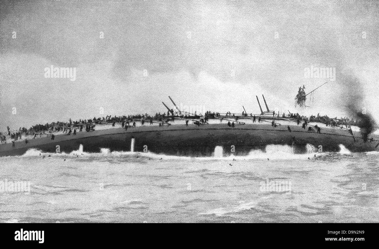 The German cruiser 'Blucher' turning on her side as she sank in World War I North Sea battle of January - Stock Image