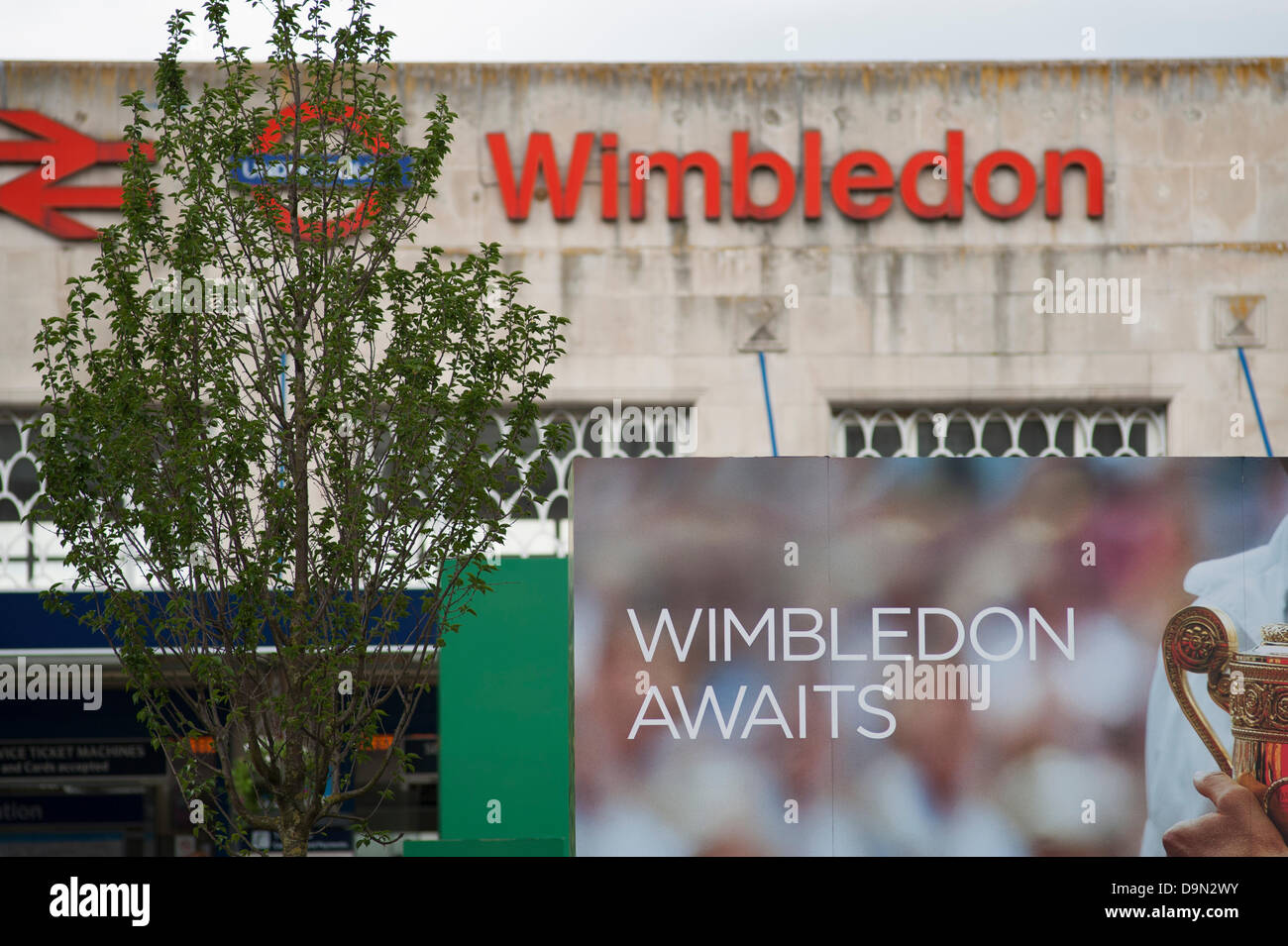 Wimbledon, London, UK. 23 June 2013. Preparations complete in Wimbledon town centre for the start of the Tennis - Stock Image