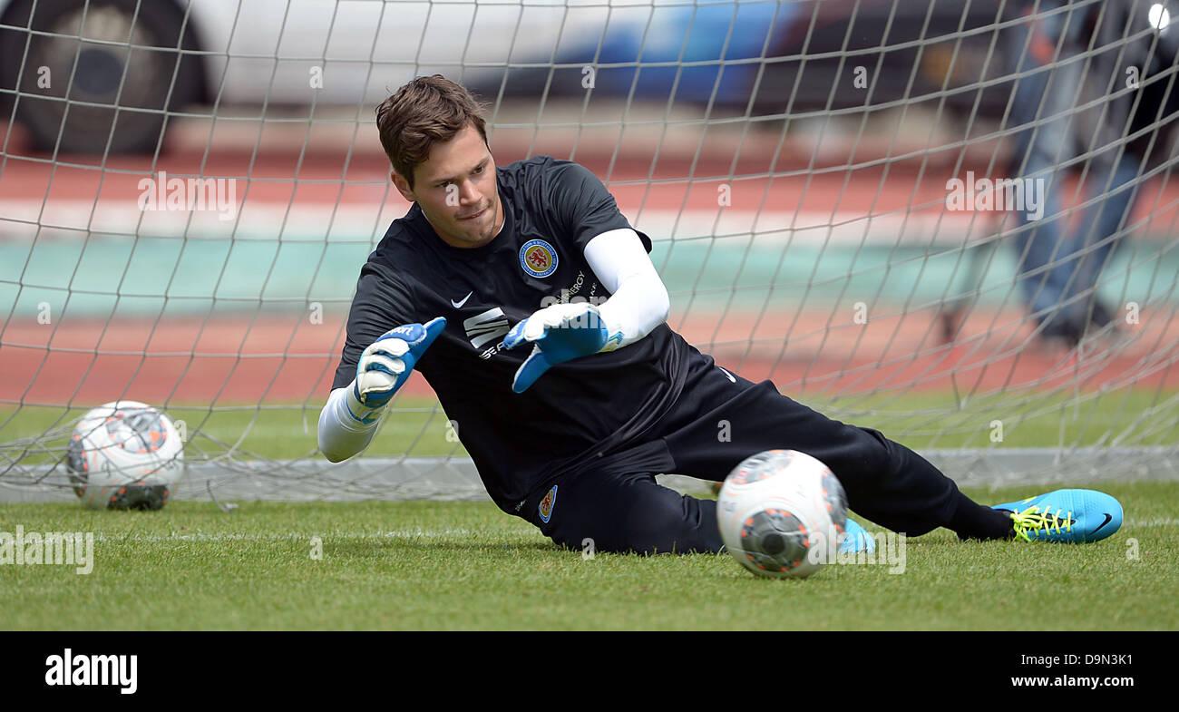 EintrachtBraunschweig's goalkeeper Daniel Davari takes part in the start of this season's training - Stock Image
