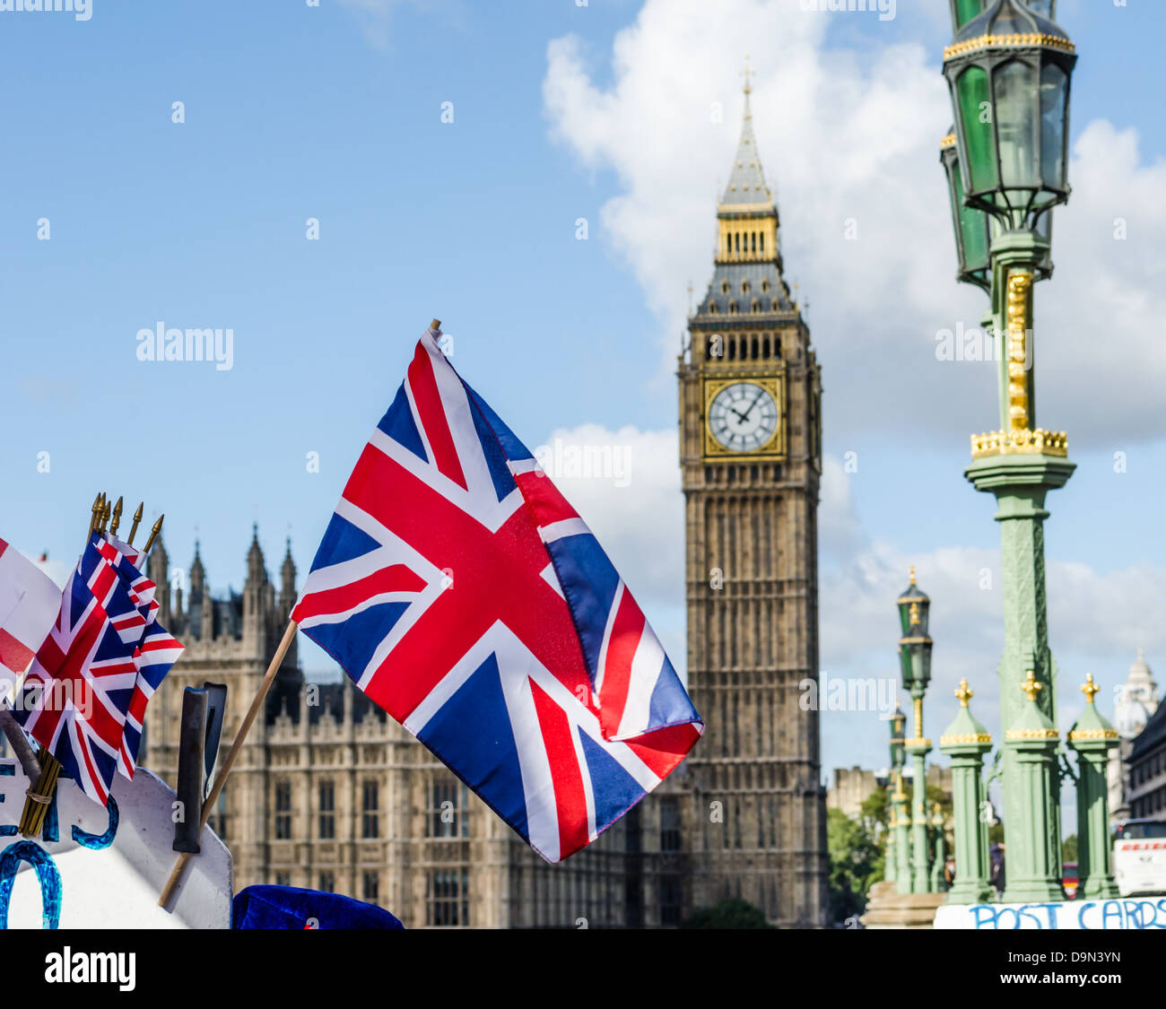 Union Jack Flag And Big Ben In The Background London England