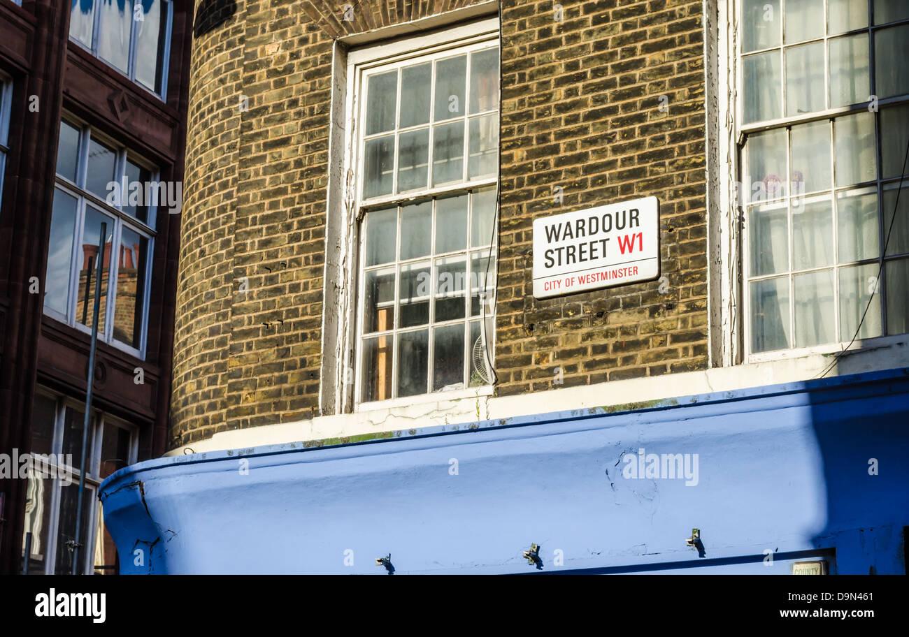 Wardour Street sign. London, England. - Stock Image