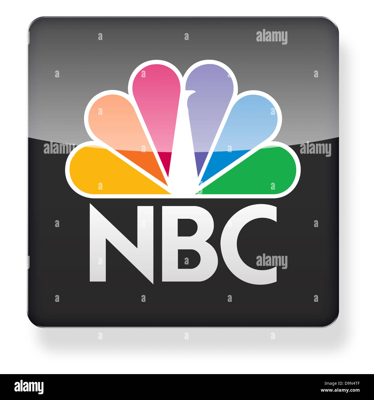 NBC logo as an app icon. Clipping path included. - Stock Image