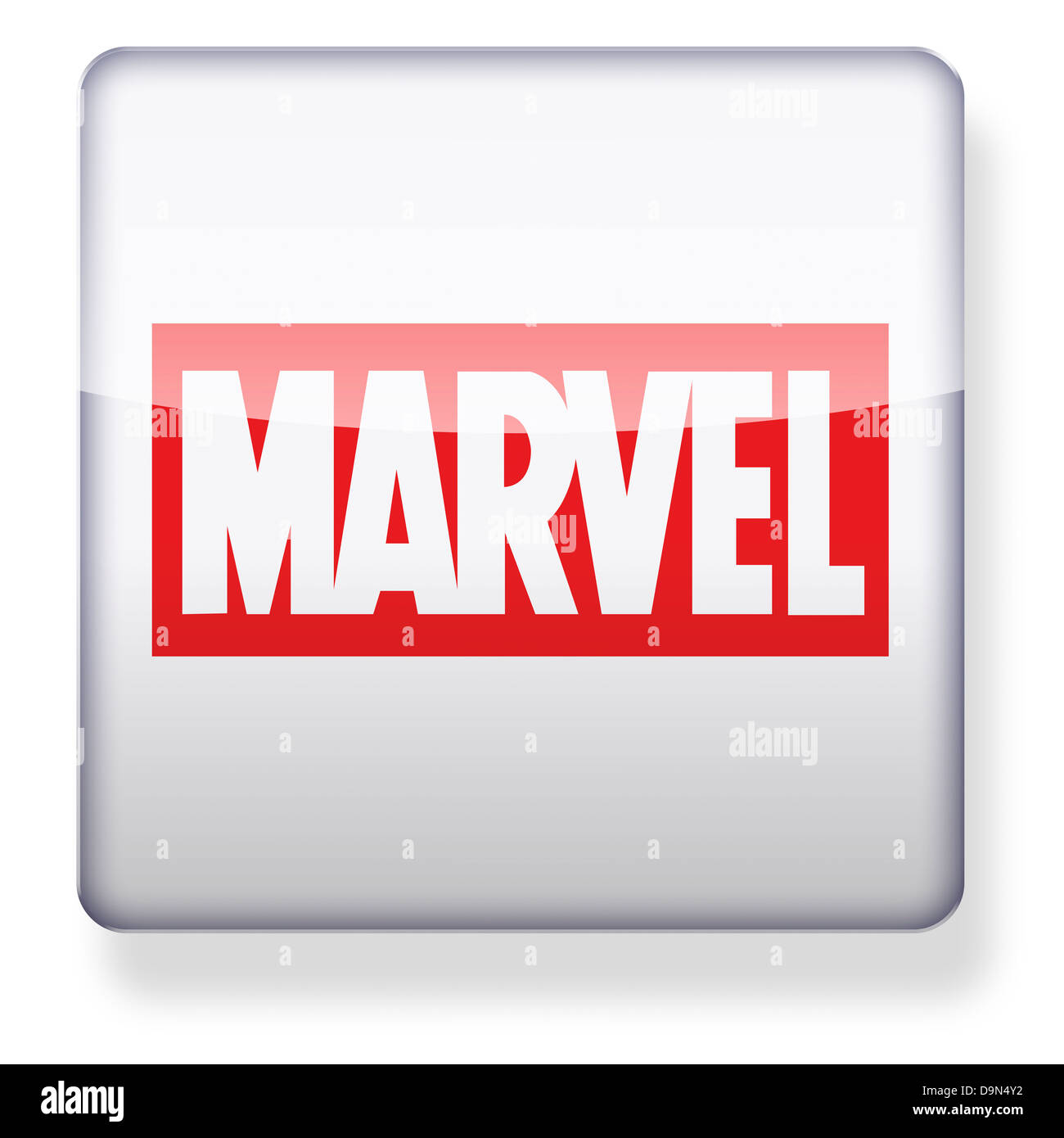 Marvel comics logo as an app icon. Clipping path included. - Stock Image