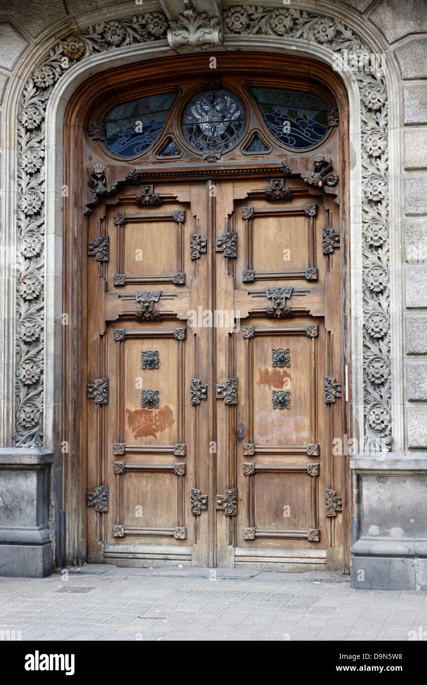 Bon Old Ornate Wooden Heavy Door In The Old City Of Barcelona Catalonia Spain