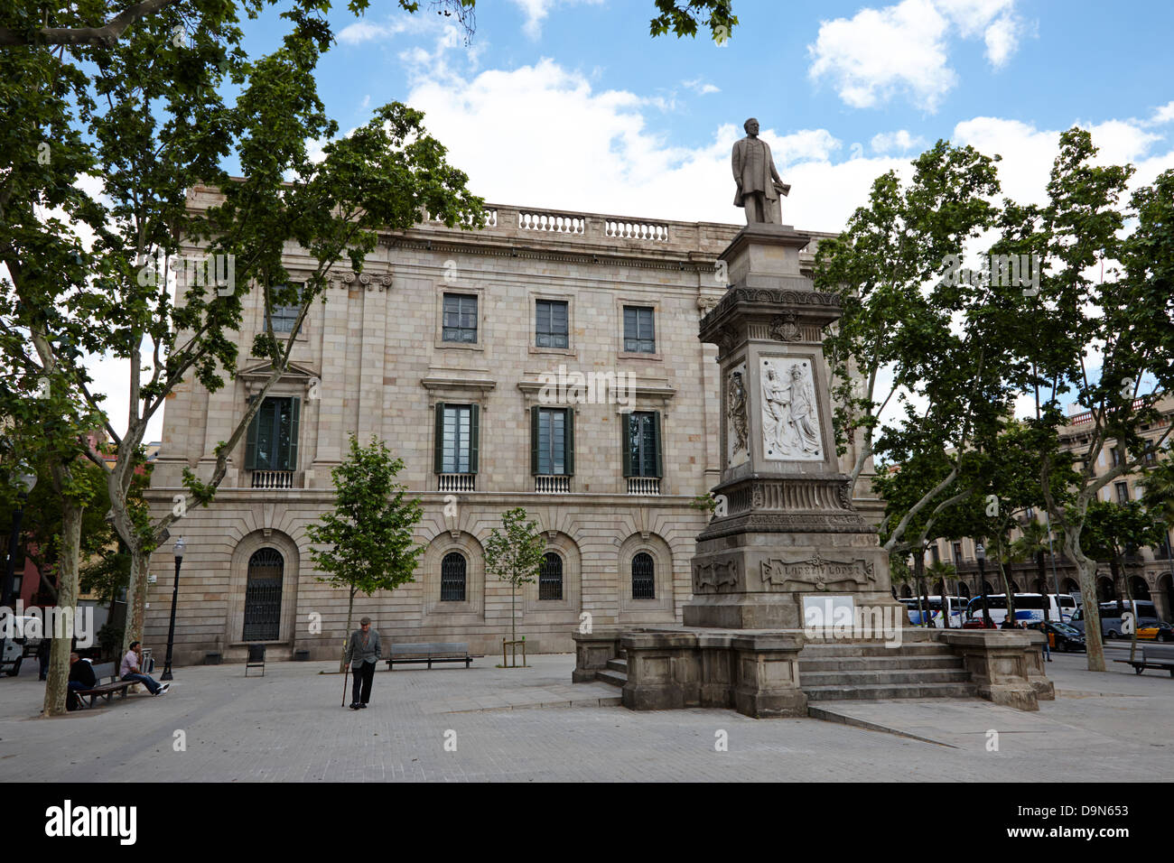 palau de la llotja palace former stock exchange and antonio lopez y lopez memorial barcelona catalonia spain Stock Photo