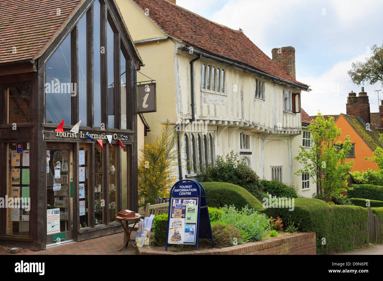 Tourist Information centre and timbered house in popular medieval village. Lavenham, Suffolk, England, UK, Britain Stock Photo