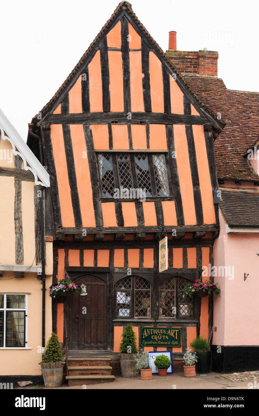15th century Crooked House antiques shop and tearooms in quaint wonky crooked orange timbered building in High Street, - Stock Image