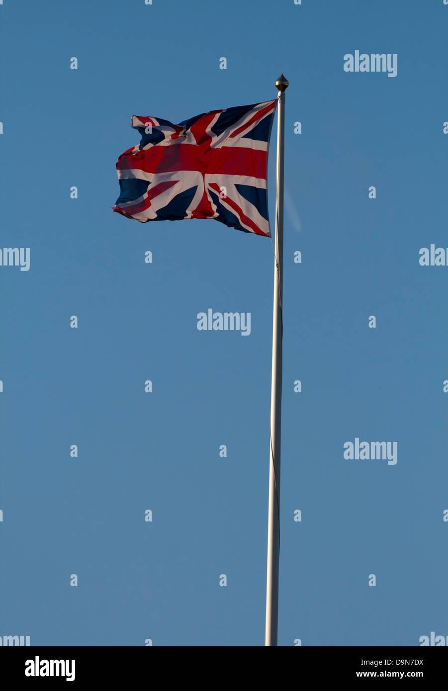 Union Jack on flagpole - Stock Image