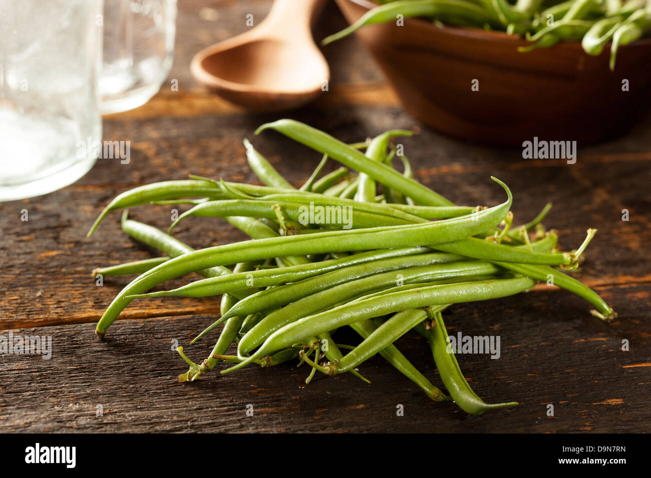 Fresh Organic Raw French Green Beans on a background - Stock Image