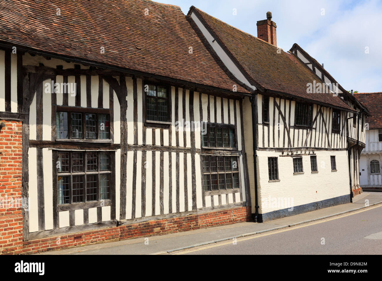 15th century timbered buildings in medieval village of Lavenham, Suffolk, England, UK, Britain - Stock Image