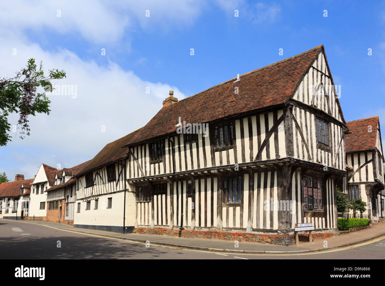 15th century timbered Wool Hall of the Guild of our Lady now part of Swan Hotel in medieval village Lavenham Suffolk - Stock Image