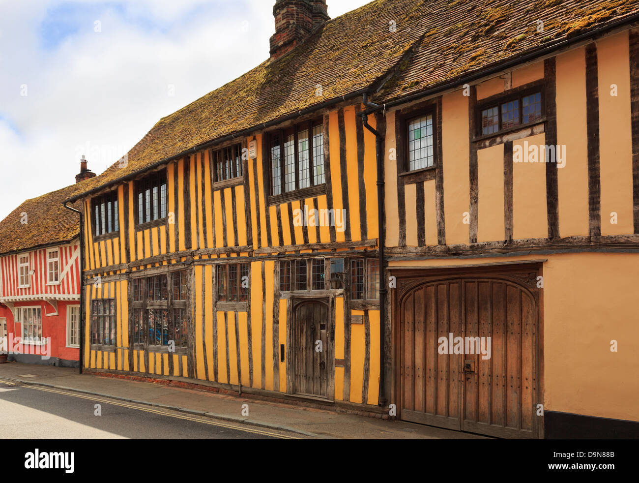 The Manor timbered Tudor building in medieval village of Lavenham, Suffolk, England, UK, Britain - Stock Image