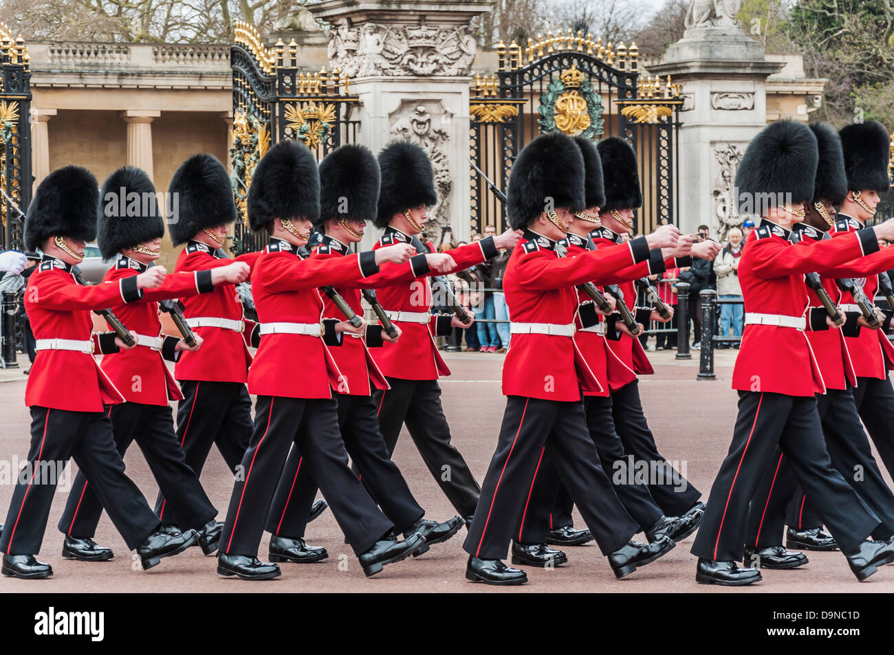 LONDON - APRIL 16: parade of queen's guards outside Buckingham Palace on April 16, 2013 in London - Stock Image