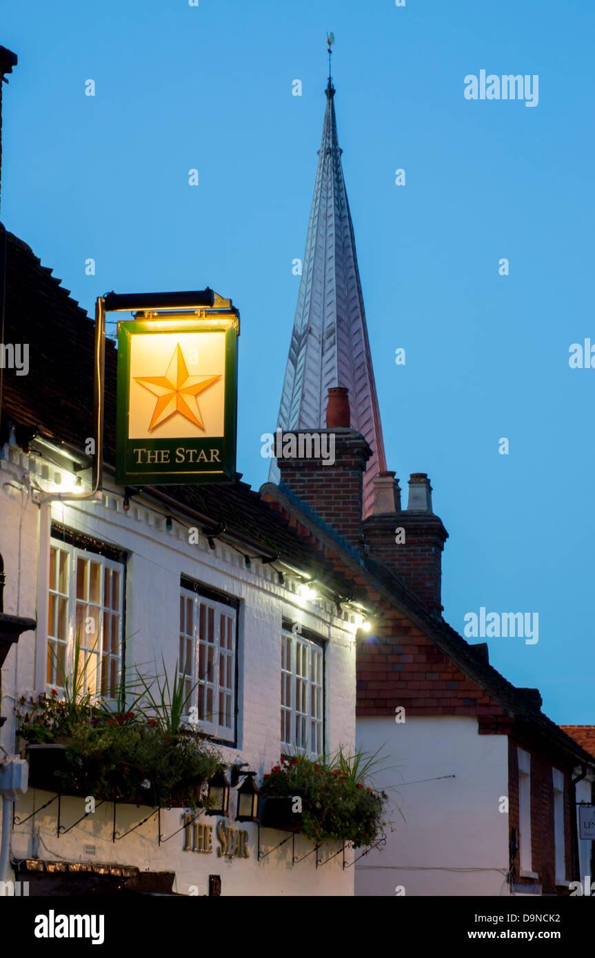 UK, England, Surrey, Godalming, dusk - Stock Image