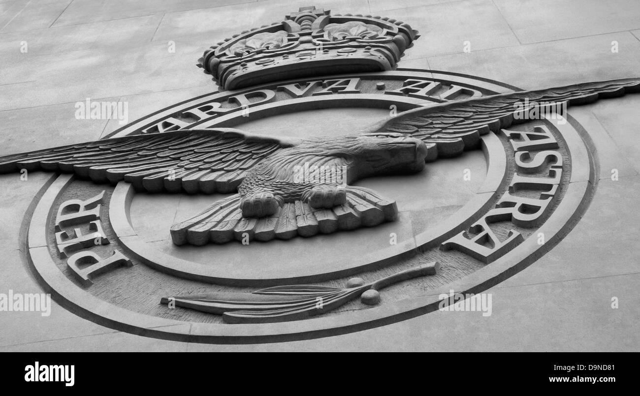 London Bomber Command Memorial - Insignia, stone badge - Stock Image