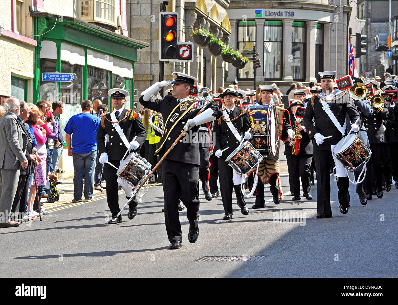 The Royal Navy band marching through the streets of Helston in Cornwall on the ' freedom of the town day ' - Stock Image