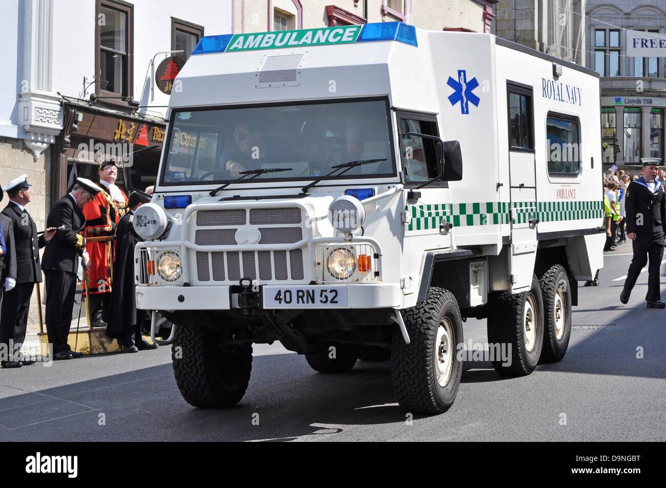 A Royal Navy ambulance - Stock Image