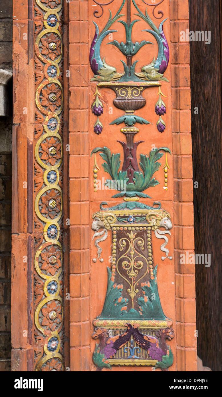 decorative brickwork and terracotta, Vienna University, Austria - Stock Image