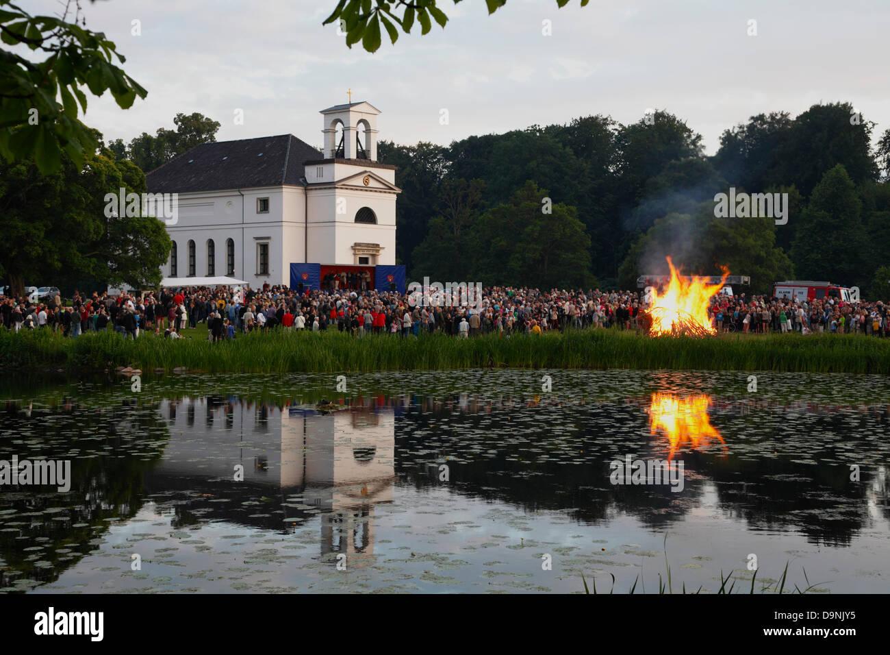 June 23, 2013 - Hørsholm Church, north of Copenhagen, Denmark. St. John's Eve, the Midsummer Eve or Sankthansaften - Stock Image