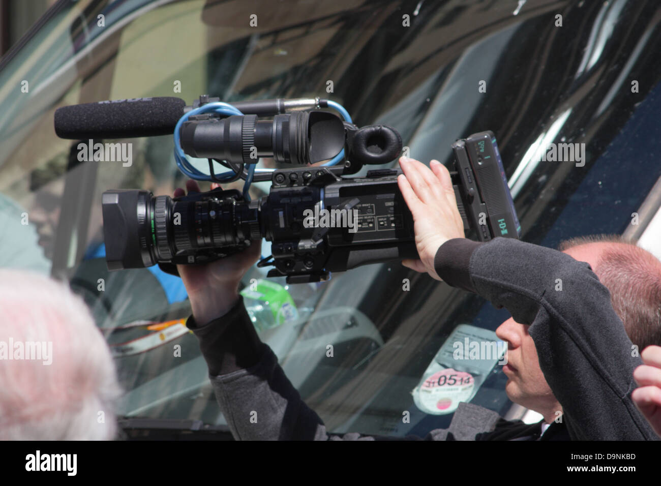 Camera man at EDL demonstration in Newcastle. - Stock Image