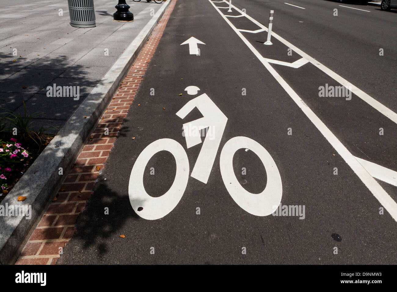 Designated bike lane - Washington, DC USA - Stock Image