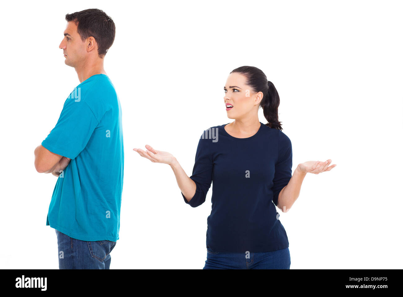 married couple having an argument over white background - Stock Image
