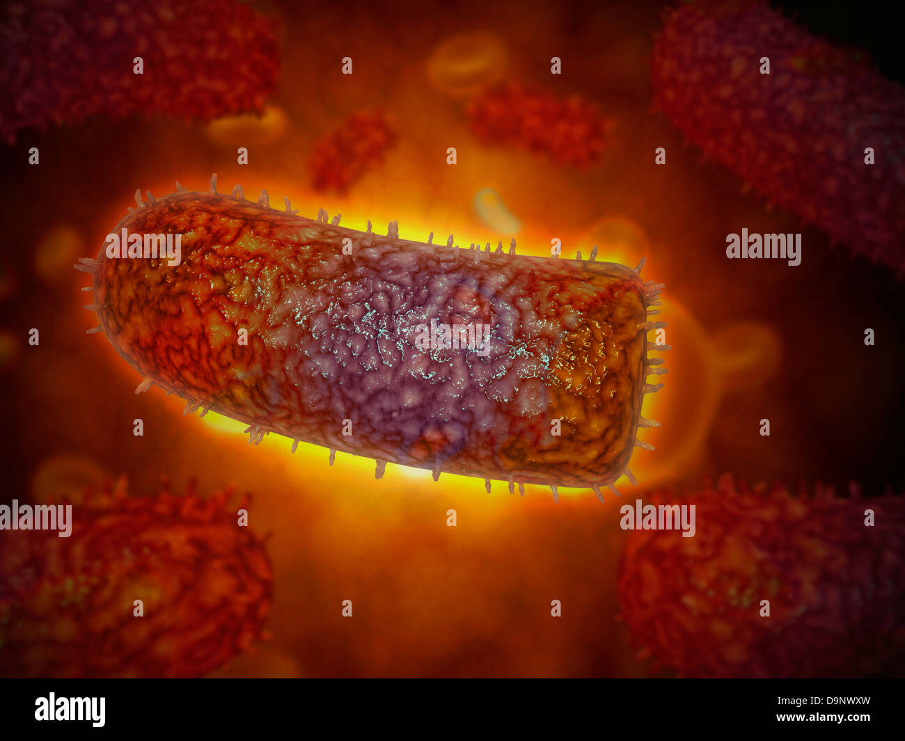 Stylized rabies virus particles, the cause of the viral neuroinvasive disease acute encephalitis. - Stock Image
