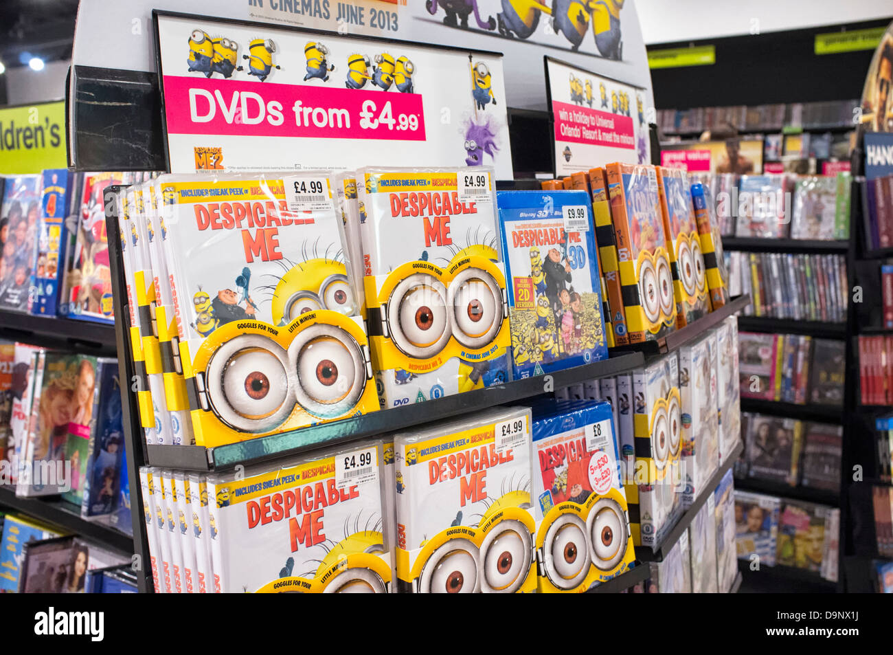 Despicable Me DVD and Blu-rays on sale in a shop prior to the second film in the series being released - Stock Image
