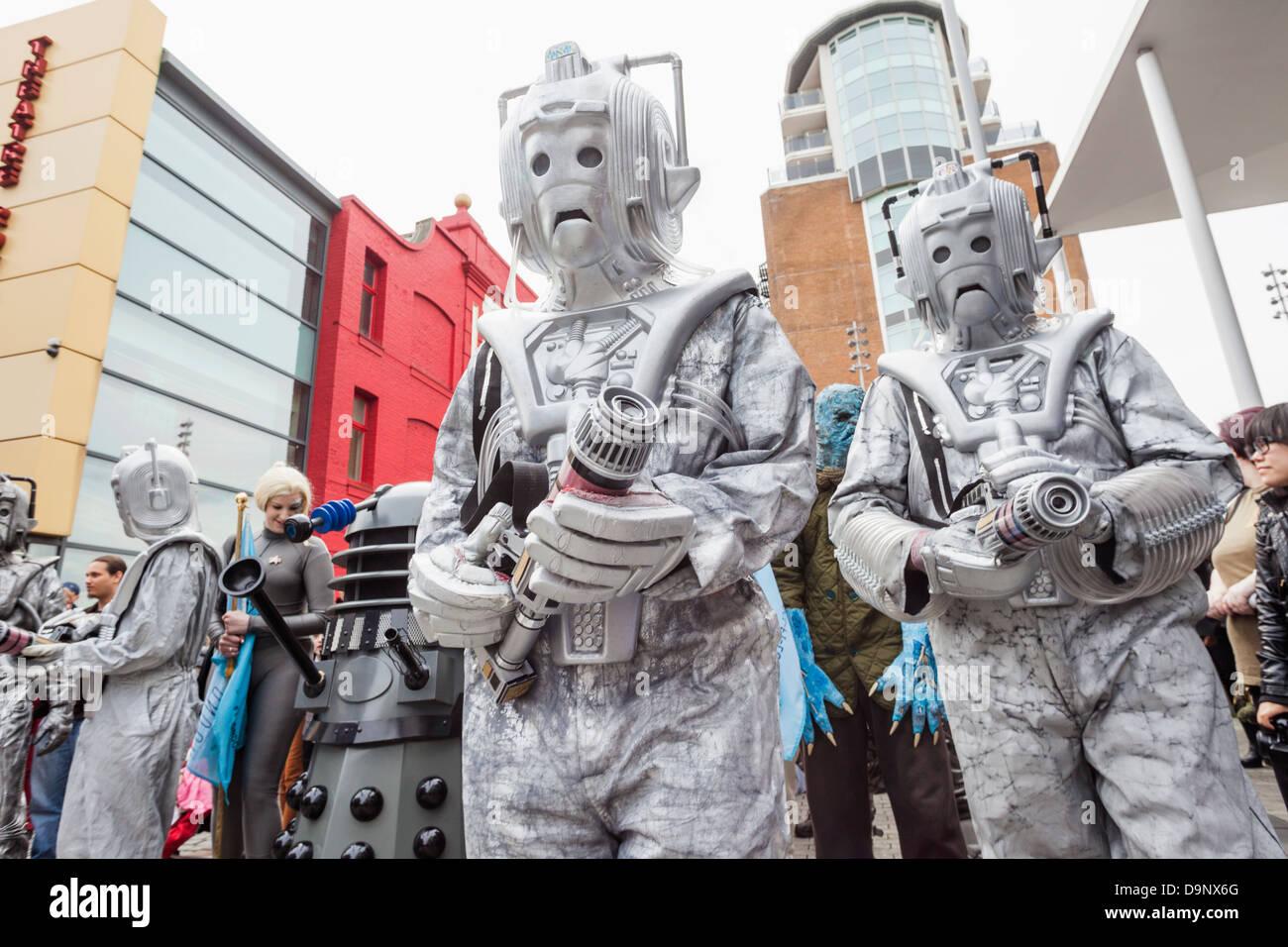 England, London, Stratford, Annual Sci-fi Costume Parade, Dalek and Cyborgs - Stock Image