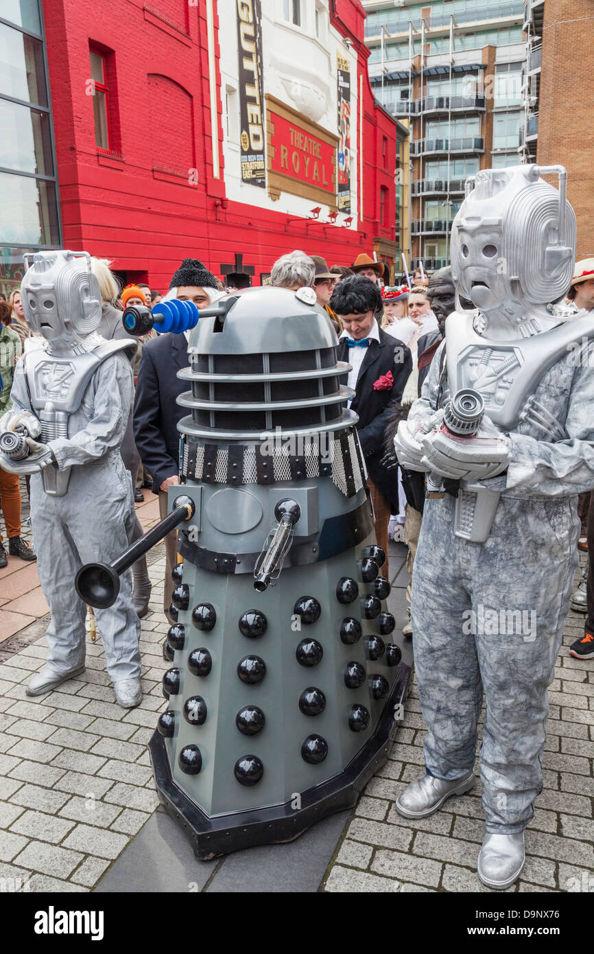 England, London, Stratford, Annual Sci-fi Costume Parade, Dalek and Cyborgs - Stock Image