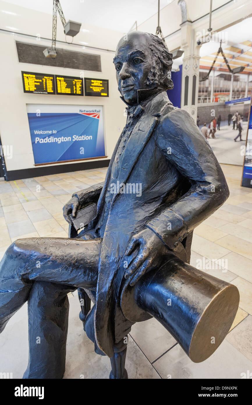 England, London, Paddington Station, Statue of Isambard Kingdom Brunel - Stock Image